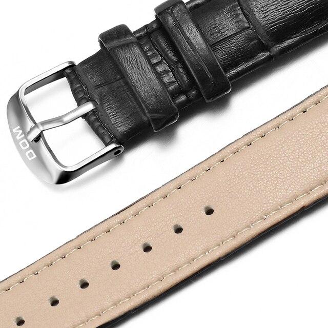 DOM Genuine Leather Watch Strap 20mm Women Men Unisex High Quality Brown Black Waterproof  Buckle Wristwatch Band Bracelet