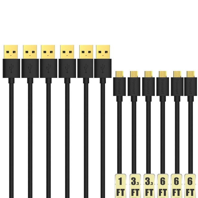 Tronsmart Micro USB to USB 2.0 Data Sync Cable High Speed Cable for HTC / Sony / Samsung Galaxy S6 Edge+ Pack of 6