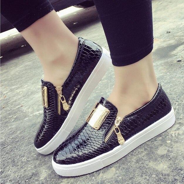 Mujeres del Resorte Mocasines Moda Metal Side Zipper Trifle Zapatos de Charol M
