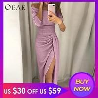 OEAK Shiny Elegant Women Long Dress Sexy Off Shoulder Bodycon Dress Female Sequin Split Party Vestido robe femme