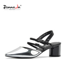 Donna-in 2019 Gladiator Sandals Women Pointed Toe Thick Chunky Heels Shoes Glitter Ladies Cross Strap Fashion Sandals for Female(China)