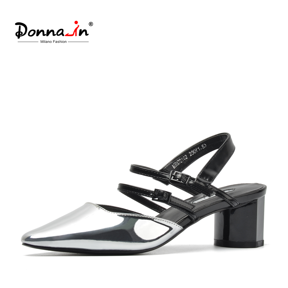 Donna-in 2019 Gladiator Sandals Women Pointed Toe Thick Chunky Heels Shoes Glitter Ladies Cross Strap Fashion Sandals for Female