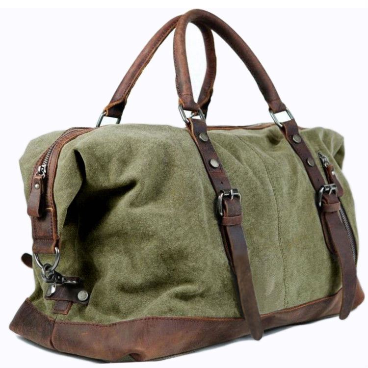 7e7601b6156b Vintage military Canvas Leather men travel bags Carry on Luggage bags Men  Duffel bags travel tote large weekend Bag Overnight-in Travel Bags from  Luggage ...