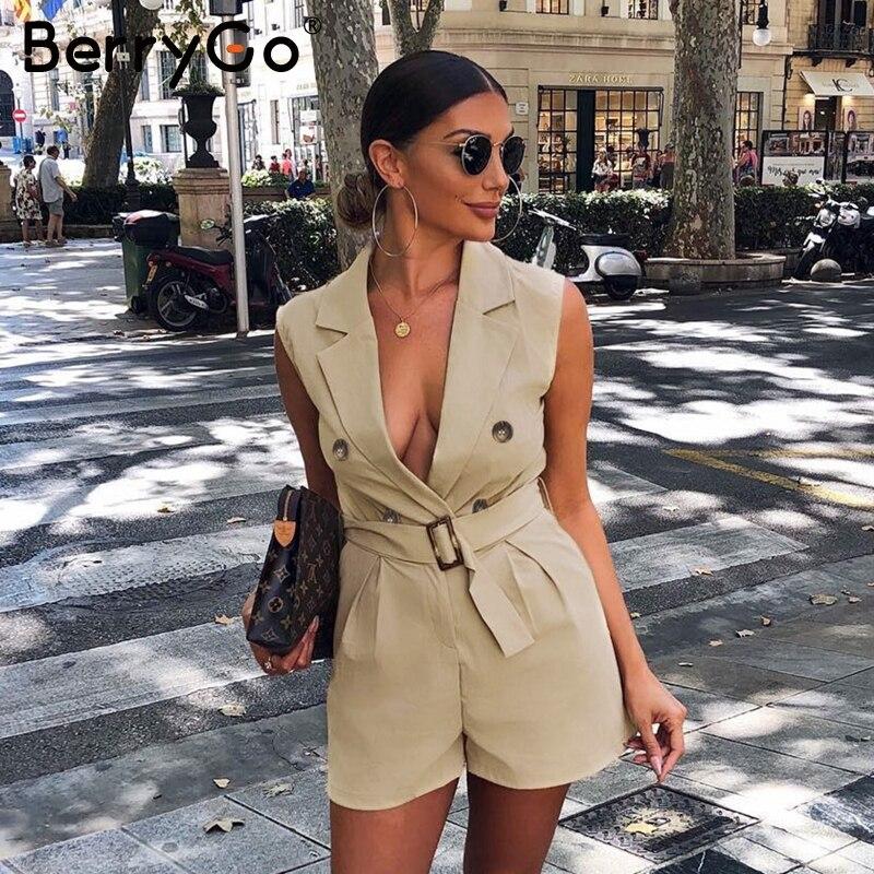 BerryGo women rompers Elegant sashes khaki playsuit Summer womens jumpsuit Office ladies playsuit pockets button zipper rompers