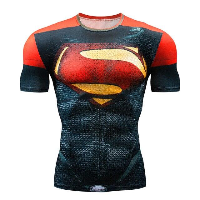 חדש 2018 סופרמן המעניש Rashgard ריצה חולצה גברים חולצה קצר שרוול דחיסת חולצה כושר כושר ספורט חולצה גברים
