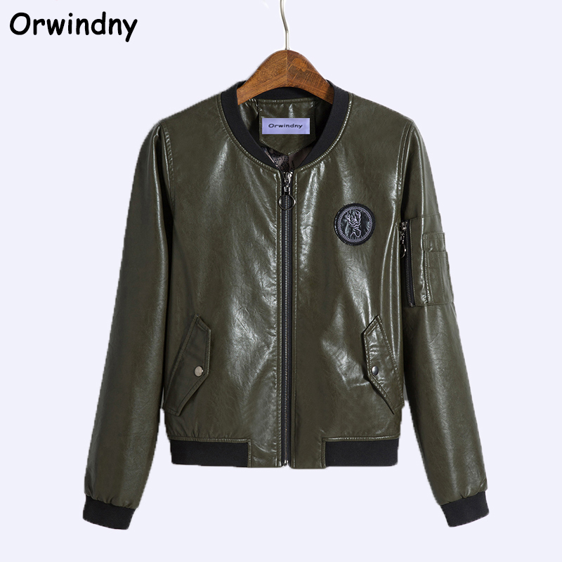 Orwindny New Casual   Leather   Jacket Women Plus Size M-5XL Loose Clothing Outerwear O-Neck Zipper Coat