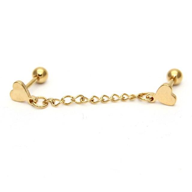 1pcs Stylish Punk Rock Love Chain Tel Dangle Ear Cuff Wrap Earring Gold Black Heart Earrings