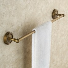 цена Bathroom Single Towel Rail Rack Antique Brass Wall Mounted Towel Shelf Bath Rails Bars Holder KD635 онлайн в 2017 году