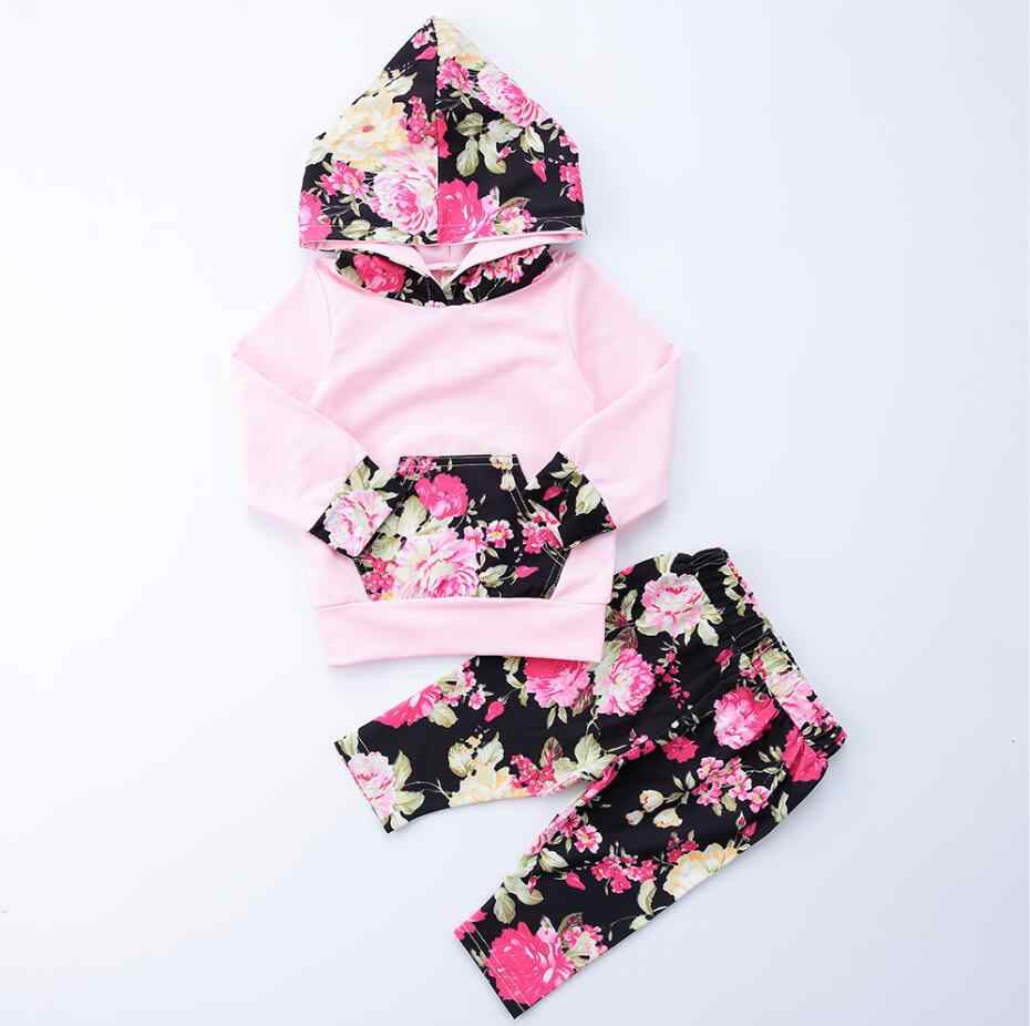 2018 Baby Clothes Set Autumn Children Baby Girls Long Sleeve Hooded Tops  Floral Pants 2pcs Clothing 9af3771f10fb