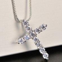 49be1e8f2136 Suerte mujer Cruz colgantes de cristal de plata collares de cadena de 5A  brillante Zirconia collares gargantilla joyería de moda.