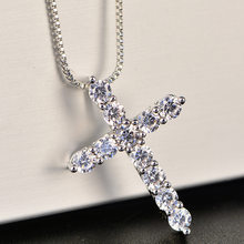 Lucky Female Cross Crystal Pendants Silver Chain Necklaces 5A Shiny Zirconia Choker Necklaces Fashion Jewelry Gifts For Women(China)