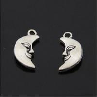 10pcs/lot New Style DIY Jewelry Charm Moon Antique Silver Pendant Charm Wholesale 17*18mm