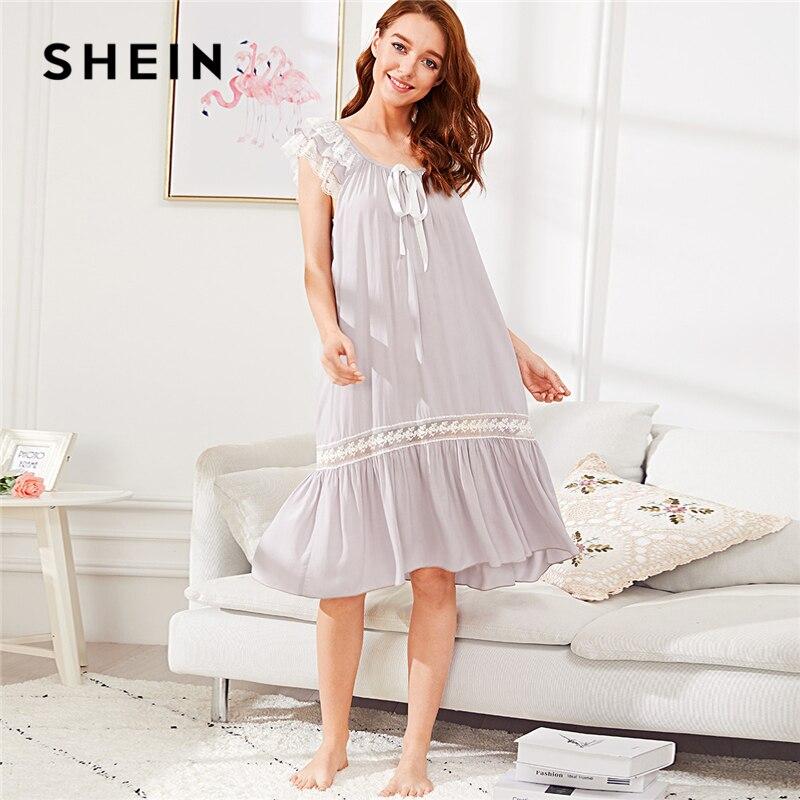 SHEIN Knot Detail Lace Insert Ruffle Hem Nightdress Purple Pastel Backless Scoop Neck Ribbon Women Summer Casual Sleepwear