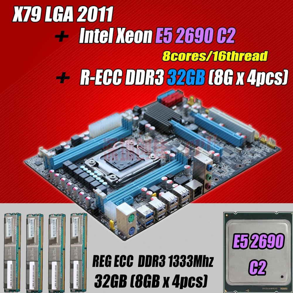 for Intel Xeon X79 motherboard CPU RAM combos LGA 2011 E5 2690 C2 SR0L0 (8 cores/16 threads) memory (4*8G) 32G DDR3 REG ECC deluxe edition huanan x79 lga2011 motherboard cpu ram combos xeon e5 1650 c2 ram 16g 4 4g ddr3 1333mhz recc gift cooler