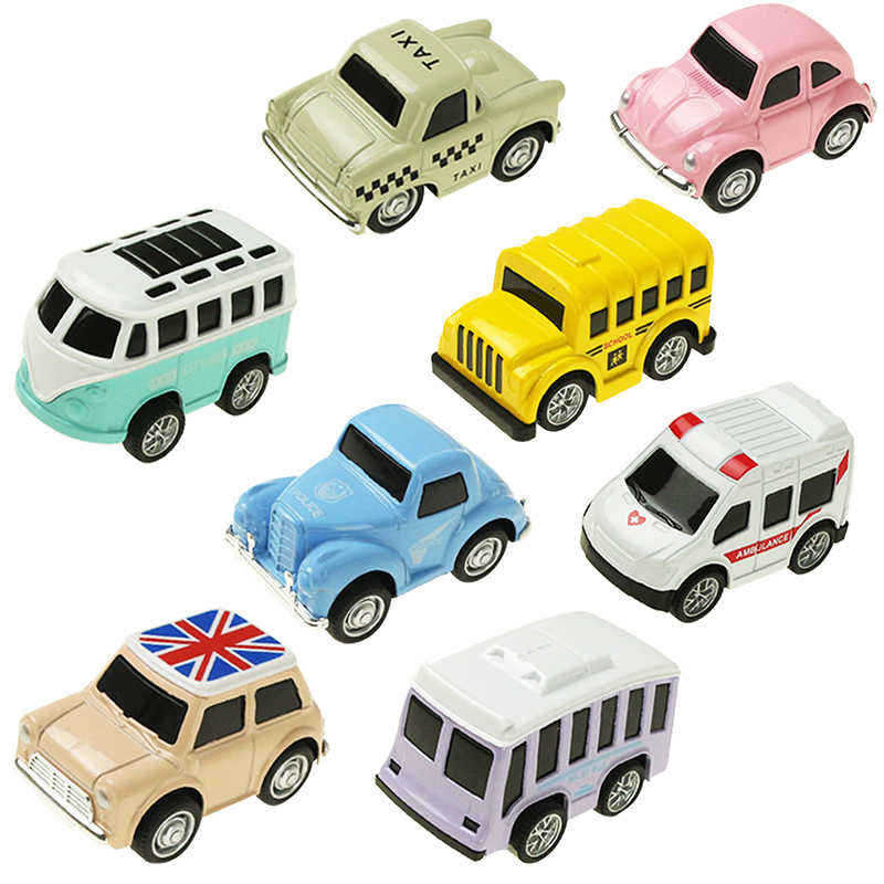 8 stks/set Leuke Mini Diecast Auto Lichtmetalen Pull Back Voertuigen Model Speelgoed Metalen Mooie Kleurrijke Taxi Bus Speelgoed Legering Auto voor Kids Gift