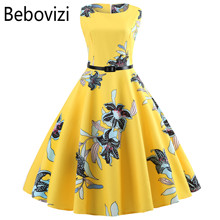 Yellow Women Dress New 2019 Casual Floral Elegant Retro Vintage 50s 60s Robe Femme Rockabilly Swing Pinup Vestidos Party Dresses