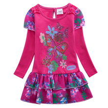 Girls long-sleeved dress spring and autumn new embroidered leisure map dresses for girls 8 years old children clothing L191