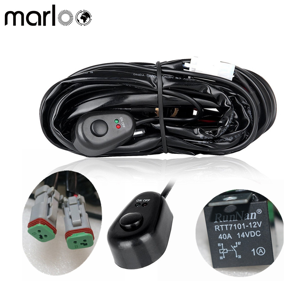 Marloo 2 Leg Off Road ATV/ Car LED Light Bar Wiring Harness 12 Voltage - 40 Amp Relay ON/OFF Switch For LED Work Light Bar Lamp ...