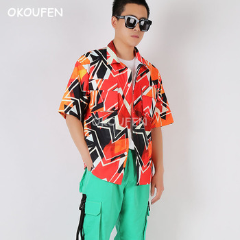 2019 New geometric cool shirt hip hop loose summer shirt tooling short sleeve tide male singer show stageshirt