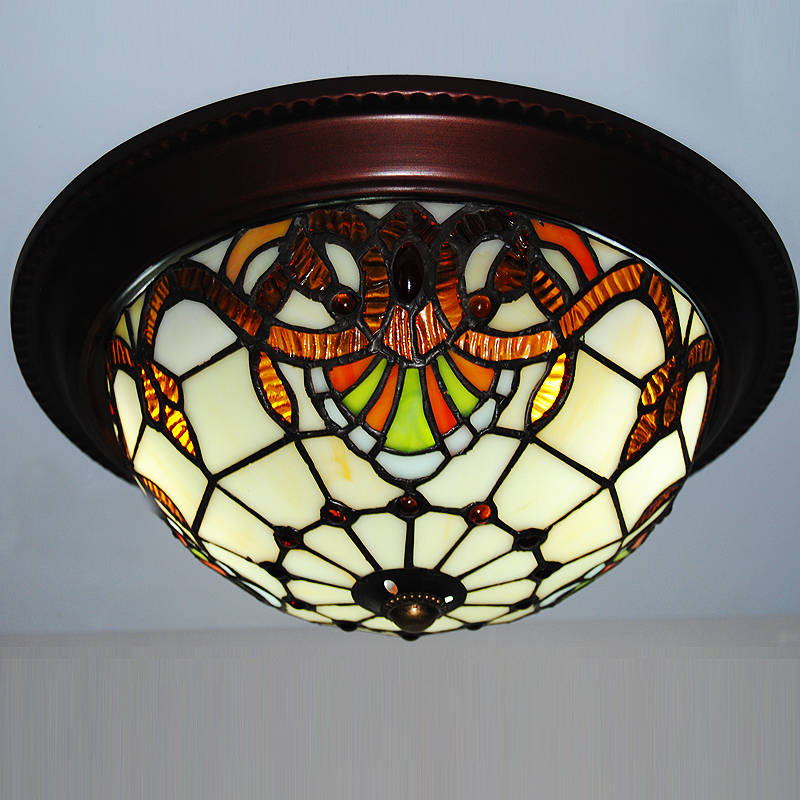 10 inch European Country Vintage Glass Shade Ceiling light lamp indoor lighting Flush mounted