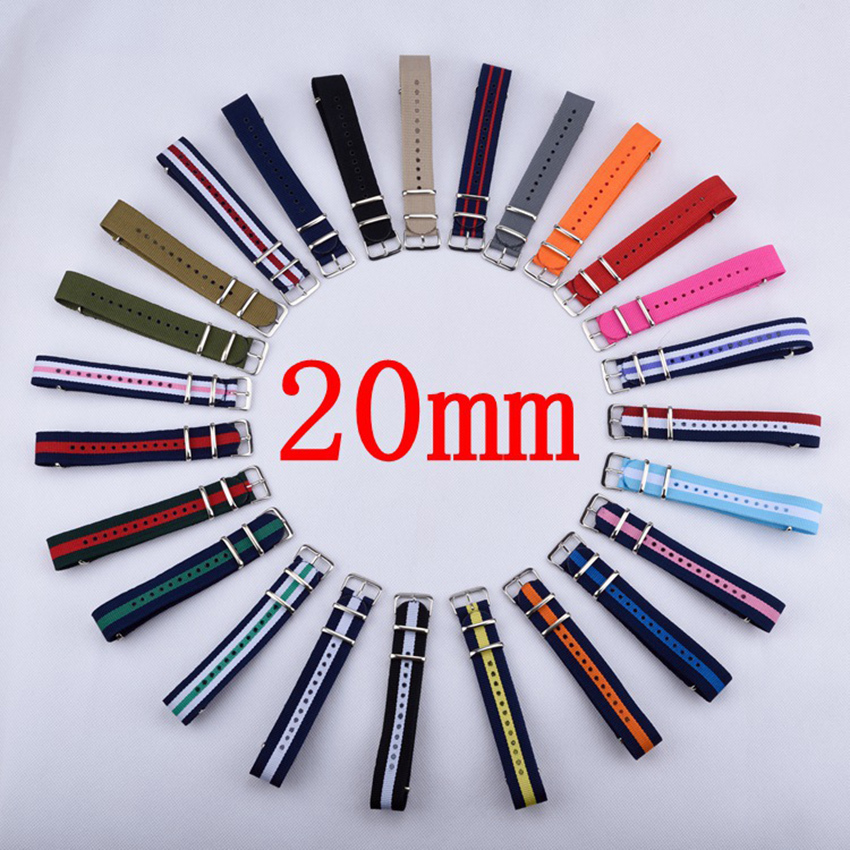 Watchband 1PCS Nylon Nato Watch Strap 20mm Watch Band Waterproof Watch Strap on for hours- 103 Multicolor Colors In Stock 2017 new brand watch strap watchband nato strap 22mm nylon watch band waterproof watch strap 18mm 20mm 22mm