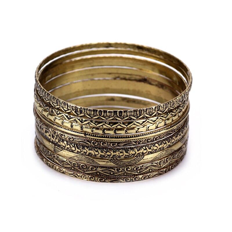 11 Piece/Set Vintage Indian Bangles Sets Gold Silver Metal Bangle Set 2017 Women Metal Untique Bronze Bangle Bracelets Duftgold bangle