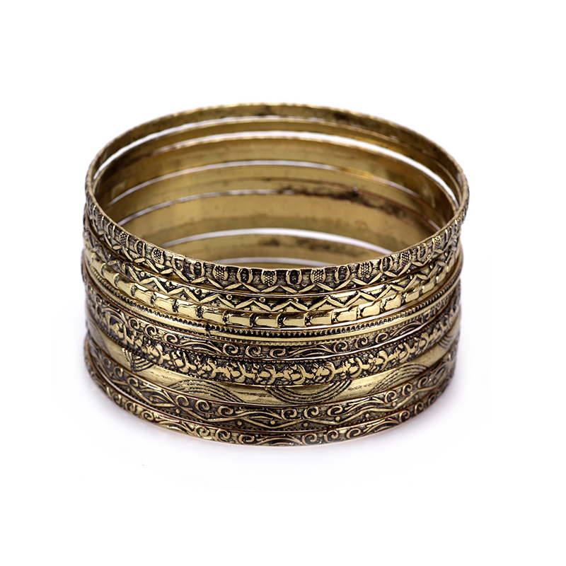 11 Ps / Set Vintage Indian Bangles Set Silver Metal Bangle Set Kvinnor Untique Bronze Armband Hint Bilezikleri Pulseira Indien