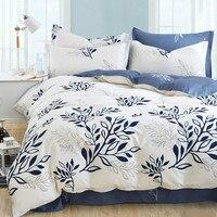 Bleu olive leaf imprimer lit kit linge rayé plaid ensembles de literie bohème couvre-lit floral literie moderne style housse de couette