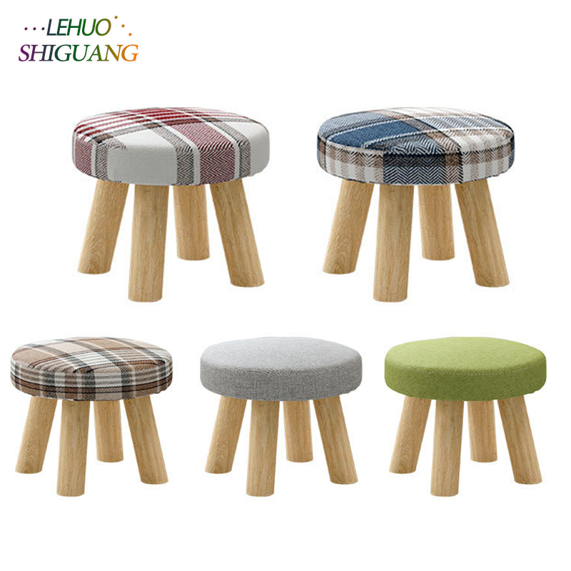 Modern Small Round Seat Stool Ottomans Wooden Cloth