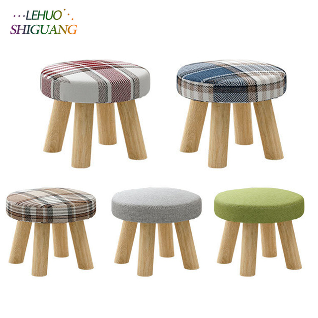 Modern Small Round Seat Stool Ottomans Wooden Cloth Doorway Coffee Table Chair Living Room