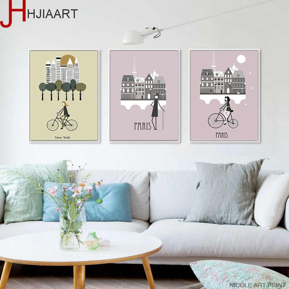 Mattina della Città di Londra New York Poster Paesaggio di Arte della Tela di Canapa Pittura Immagine Della Parete Stampa Modern Home Living Room Decor