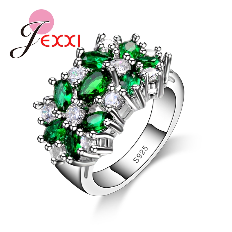 Hot Selling 925 Sterling Silver Women Engagement Wedding Rings With Colorfull Shinny CZ Cubic For Ladies