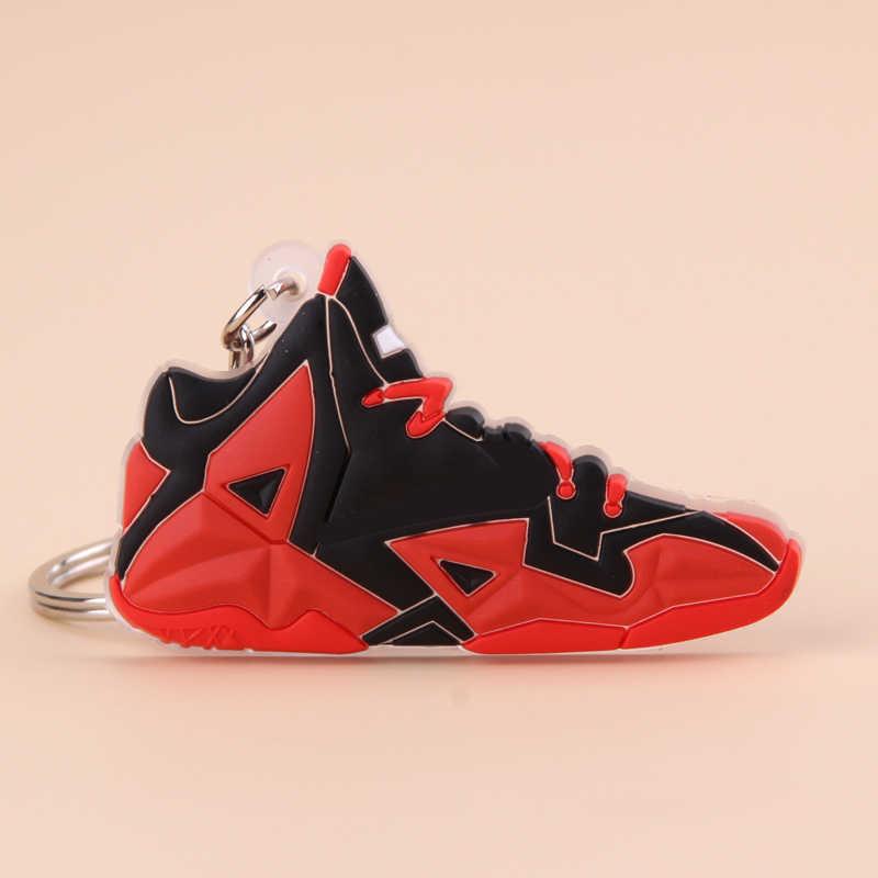พวงกุญแจมินิซิลิโคน Lebron 10 รองเท้า Key CHAIN ผู้หญิงผู้ชายเด็กของขวัญแหวนบาสเกตบอลรองเท้าผ้าใบ Porte Clef