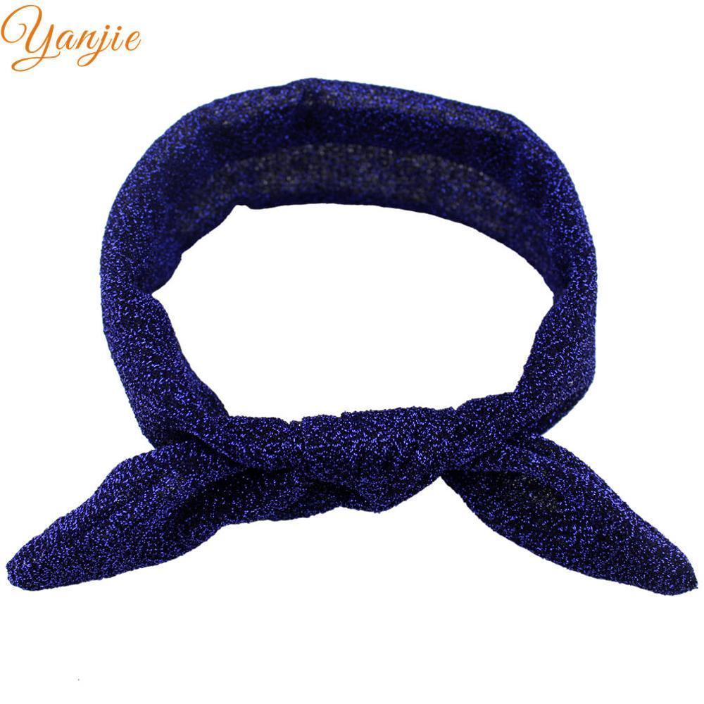 10 шт./лот, Блестящий металлический верх, повязка для волос с бантиком и заячьими ушками для девочек, вязаные головные повязки из Джерси, золотые/серебряные повязки на голову - Цвет: royal