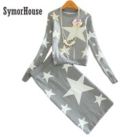 New 2016 Women Sets Fashion Black Gray Suits Knitted Long Sleeved Stars Printed Pullovers SweatersTops And
