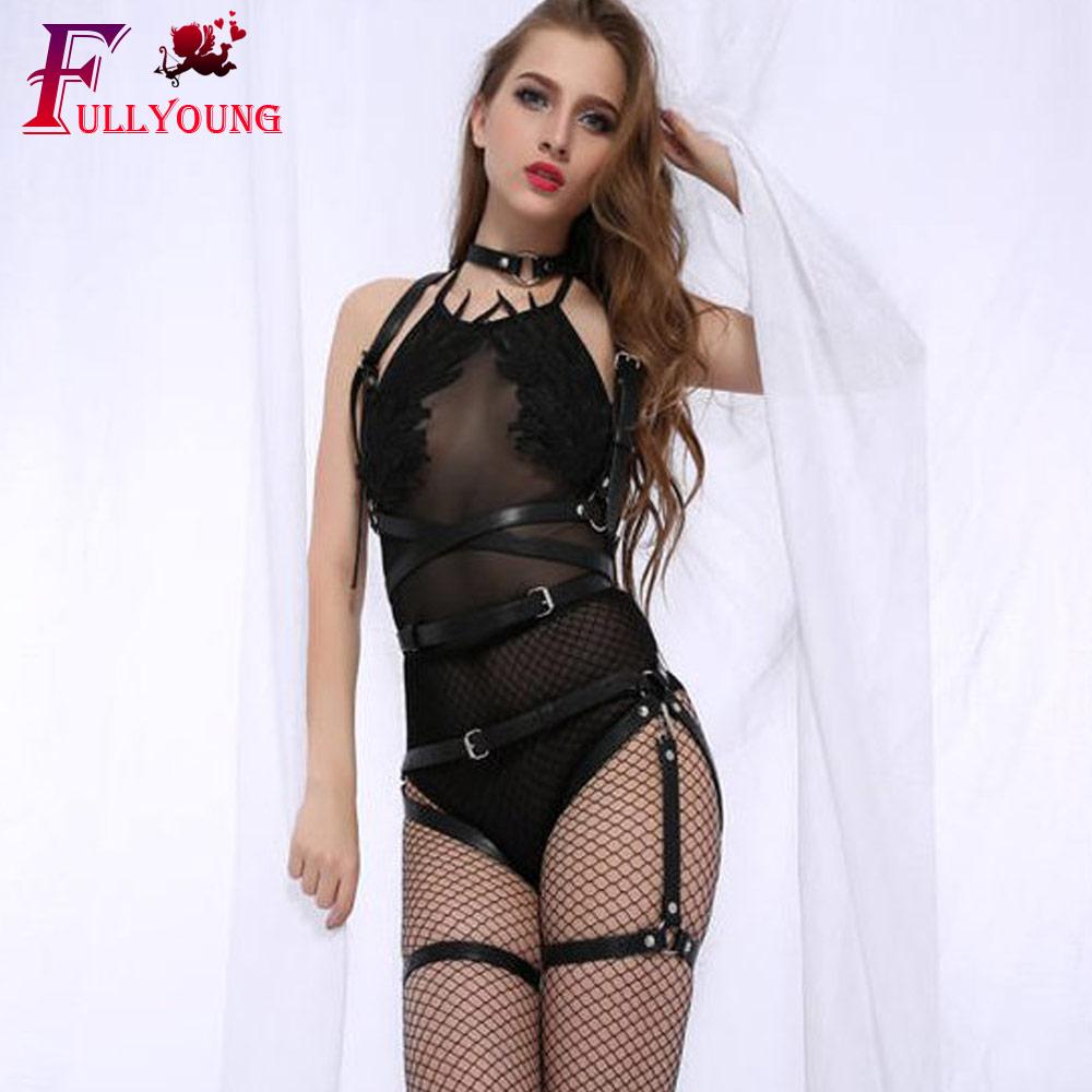 Fullyoung Sexy Sets 2PCS Women Garters Bra Harness Leg Bondage Straps Bra Leg Garter Adjustable Leather Pastel Goth Waist Belt in Garters from Underwear Sleepwears
