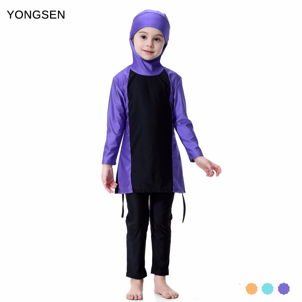 YONGSEN Islamic Muslim Swimwear 2018 Girl Hijab Maillot De Bain Burkinis Modest Plus Size Brand Swimsuit Long Sleeve Bathing