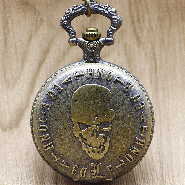 Gelernt Heißer Verkauf Mode Bronze Death Note Schädel Quarz Taschenuhr Halskette Anhänger Uhr 2019 Männer Frauen Uhren Cf1053 SchöN Und Charmant