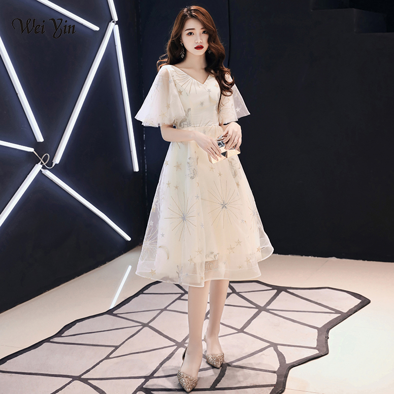 Wei Yin Sexy V Neck Robe De Soiree Longue 2019 Evening Dresses Long A-Line Tulle Prom Dress Special Occasion WY1802