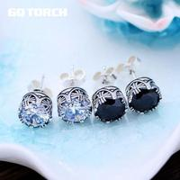 GQTORCH 925 Sterling Silver Earrings For Men And Women Cubic Zircon Natural Black Onyx Stone Inlaid