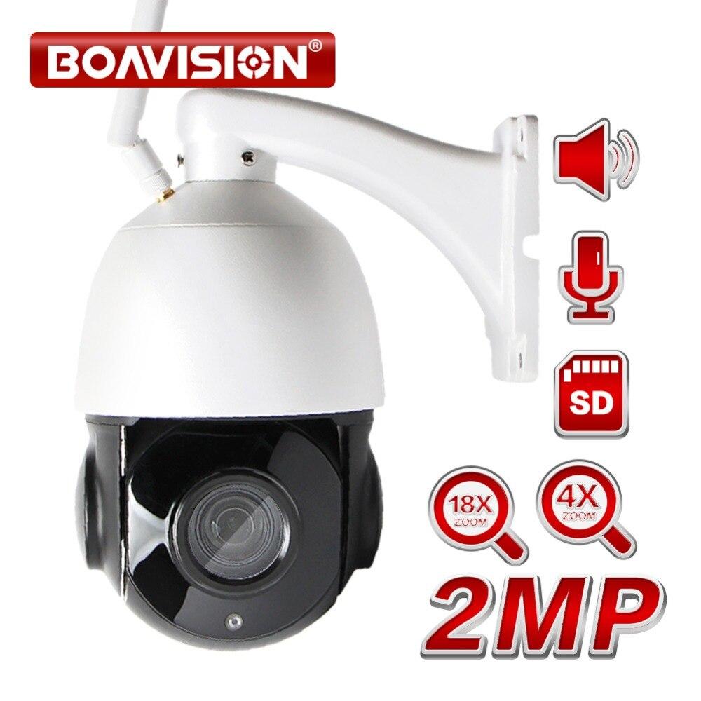 Sans fil PTZ Speed Dome 1080 p IP Wifi Caméra Extérieure 4x 18x Zoom, Haut-Parleur SD Carte, CCTV Sécurité Vidéo Caméra Réseau Audio Parler