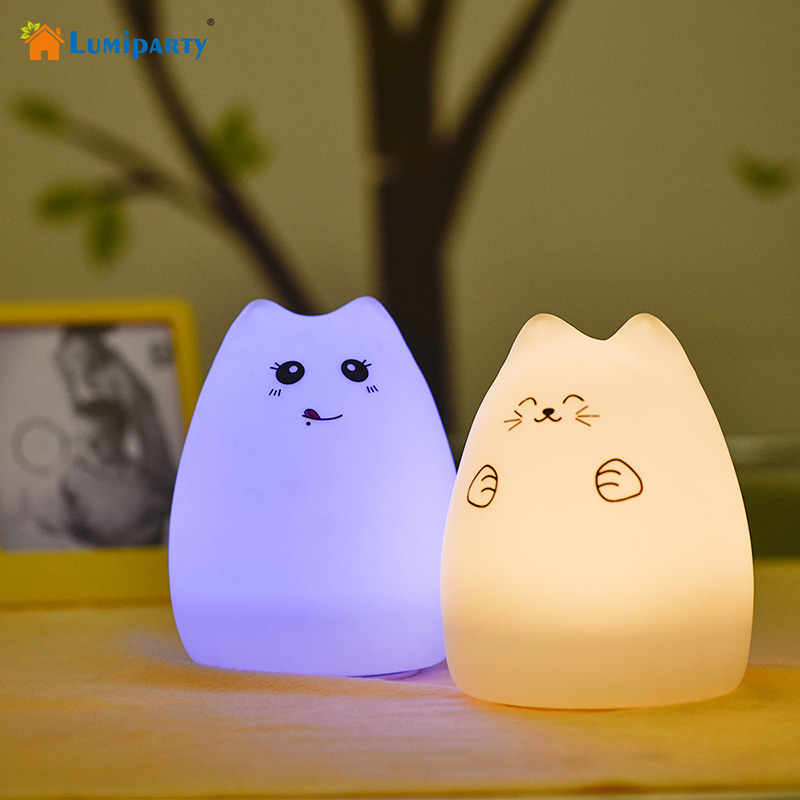 LumiParty Creative Cute Cat LED Night Light For Baby Kids Bedside Lamp Multicolor Silicone Touch Sensor Tap Control Nightlight guxen cute rabbit led multicolor usb tap control 7 color breathing silicone soft baby nursery night light for birthday gift