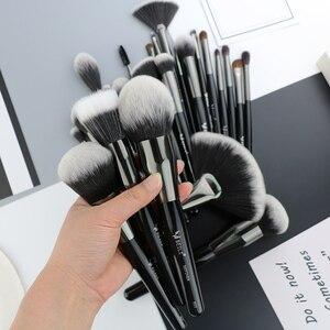 Image 2 - Набор профессиональных натуральных кистей для макияжа BEILI Black, 25 шт., тени для век, подводка для бровей, консилер, кисти для макияжа