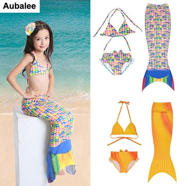 efc2313b5f 3PCS Girls Mermaid Tail Bikini Set Swimwear Children Baby Swimmable Mermaid  Tail Costume Kids Bathing Suit Beach Fancy Dress