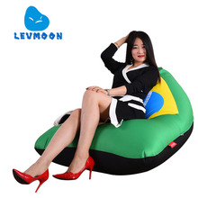 LEVMOON Beanbag Sofa Chair Brazil Flag Seat Zac Bean Bag Bed Cover Without Filling Indoor Beanbags