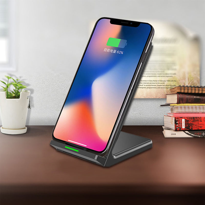 QI Standard Wireless Fast Charger with Fan for iPhone X 8 10W Table Stand Charger with LED Light for Android Samsung S7/8