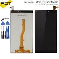블랙 알카텔 오렌지 nura 2 nura2 m823 lcd 디스플레이 터치 스크린 디지타이저 어셈블리 예비 부품 + 도구