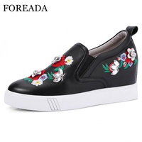 FOREADA Women Pumps High Heels Natural Genuine Leather Platform Wedge Heel Shoes Real Leather Flower Shoes Ladies Red Size 33 40