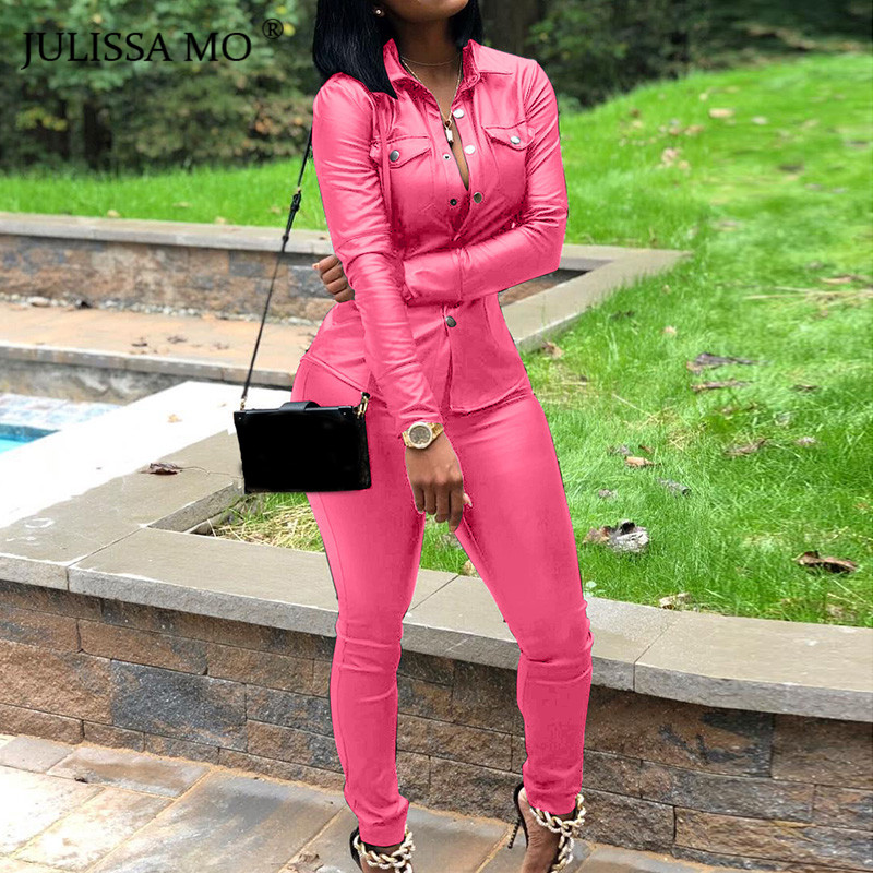 JULISSA MO 2 Piece Set PU Leather Tracksuit Women Overalls Long Sleeve T-Shirt+High Waist Pants Casual Button Jumpsuit Outfits