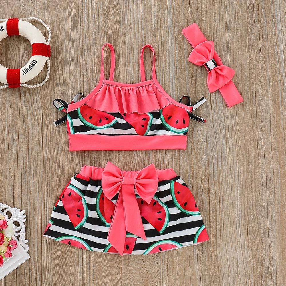 2019 Toddler Baby Girl Swimwear Two Pieces Set Watermelon Print Strap Swimsuit + Bow Skirt + Hair Band Bikini Swimsuit  A1